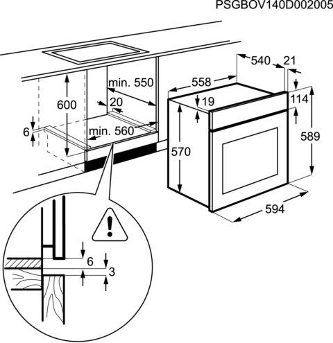 Electrolux ringküttekehaga integreeritav ahi EZB3400AOX
