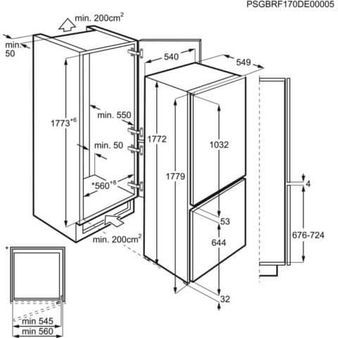 Külmik-sügavkülmik Electrolux integreeritav 177cm A+ ENN2800BOW