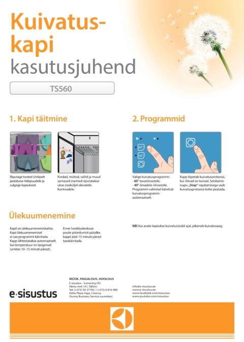 Kuivatuskapp Electrolux TS560 Lühijuhend