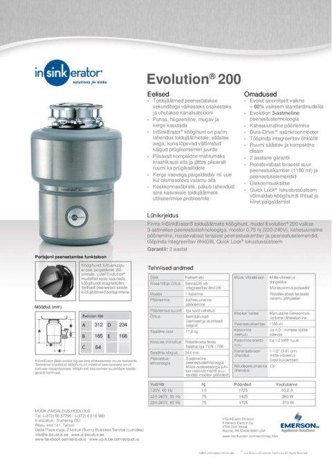 Köögihunt InSinkErator Evolution 200 kodukööki 0,75hj
