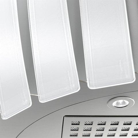 Falmec Prestige teras + valge või must klaas 75cm saar-õhupuhastaja AISI304