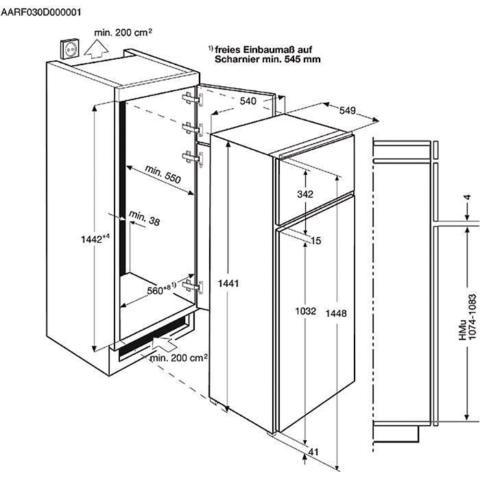 Electrolux 144cm integreeritav A+ külmik EJN2301AOW