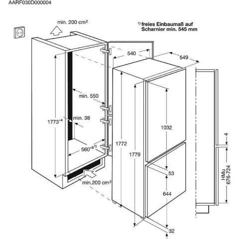 AEG integreeritav 177cm A++ 196/61L külmik-sügavkülmik SCE81826TS Frost Free