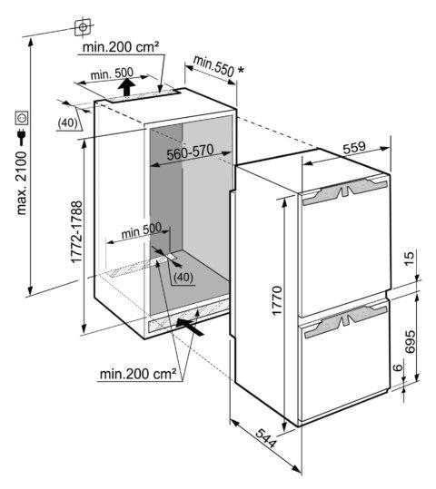 Liebherr 178cm A++ integreeritav külmik BioFresh ICBN3324-20