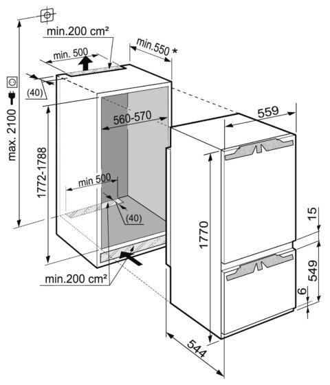 Liebherr 178cm A+++ integreeritav külmikBioFresh ICBP3266