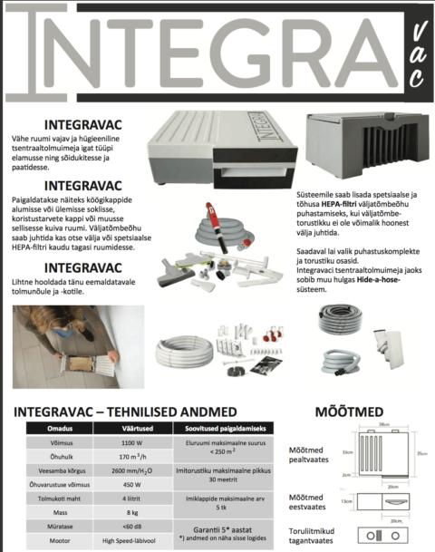 INTEGRAVAC integreeritav kompaktne keskustolmuimeja