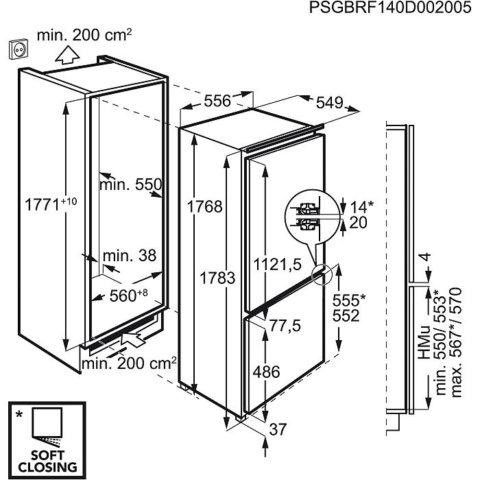 Integreeritav nullkraadisektsiooniga külmik AEG 177cm SCE81816ZF