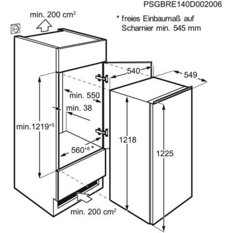 Electrolux 122cm A+ integreeritav jahekapp sügavkülma osaga ERN2001BOW