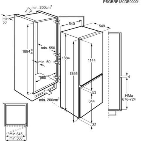 Integreeritav külmik Electrolux FrostFree 188cm A++ ENN3054EOW R paigaldusjoonis