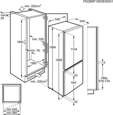 AEG integreeritav külmik FrostFree 188cm ExtraZone-iga SCE819D8TS