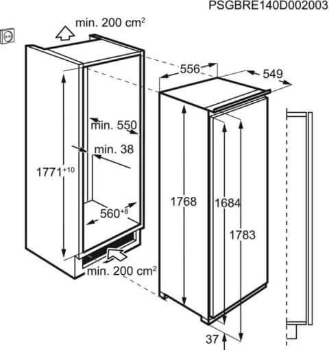Electrolux 178cm A++ ExtraZone sahtliga jahekapp LRB3DE18C