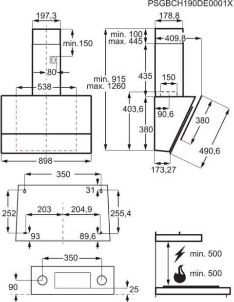 Electrolux kubu-tüüpi 90cm Hob2Hood stiilne õhupuhasti LFV619R