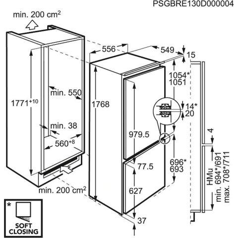 AEG integreeritav A++ külmik FrostFree 177cm SCE818E6TF