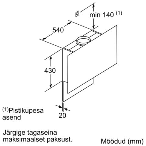 Neff võimas magnetiliste omadustega ja riiuliga köögiõhupuhasti 90cm