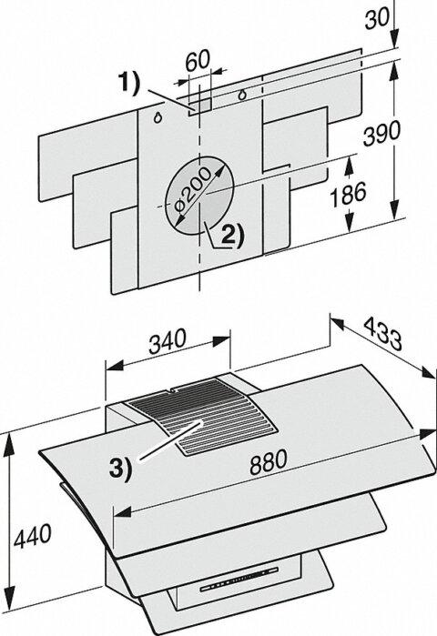 Miele 88cm ainulaadne kolme kumera klaasiga disain õhupuhasti