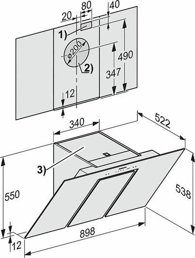 Miele kubu-tüüpi 89.9cm stiilne õhupuhasti seinale DA6498W