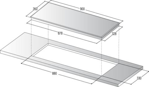 Valge kitsas induktsioonpliidiplaat 40cm x 90cm